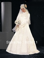 Free Shipping Classical Elegant A-Line Satin Muslim Wedding Dress