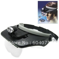 Cheap Light Head Magnifying Glass with 4 x 3D Lens & 2 LED Lamps Folding magnifying glasses Loupe 1.2X 1.8X 2.5X 3.5X Magnifiers