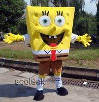 Retail/ wholesale High quality Sponge Bob Mascot Cartoon Costume Adult Size Party Xmas+Free shipping