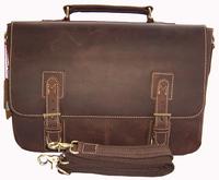 """Retro Vintage Brown Crazy Horse leather men's briefcase tote Men genuine leather briefcase 14""""laptop Messenger bag Shoulder bag"""