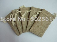 free shipping by DHL high quality jute burlap gift bags pouches with cotton drawstring 200pcs/lot