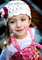 1 PC Retail Girls Flower Hat ,Girls Crochet Hat, Baby Girls Kids Knit Cap With Flower 3 size mixed design