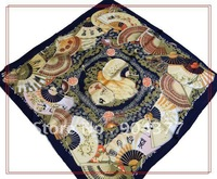 Free shipping China Fans Design Small Square 100% Silk Scarf 10pcs / lots mix color