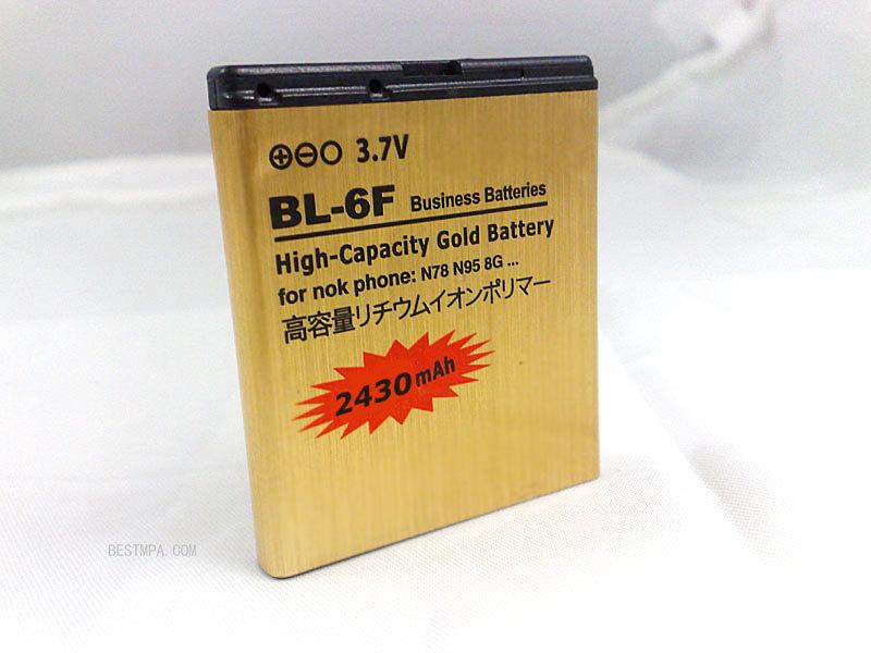 2430mah GOLD battery BL-6f mobile phone battery FOR NOKIA BL-6F N95 N95 8G N96 N78 N79 PHONE(China (Mainland))