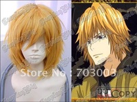 Freeshipping Short Golden Yellow Hair Wigs REBORN DINO COSPLAY WIG