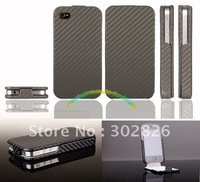 Carbon Flip Leather Case For iPhone 4S 4G