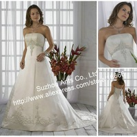 Gorgeous Style Satin Embroidery Draped 2013 Wedding Dress Ivory EL677
