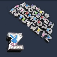 nice 8MM slider charms,letter charms with rhinestones, DIY letter jewellery, crystal DIY dog collar charms