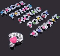hot sale 8MM letter charms with heart, slider charms, DIY letter jewellery with heart rhinestones, crystal DIY charms