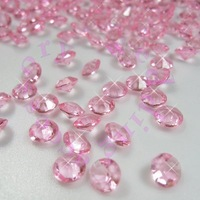 1000pcs/lot, Pink 6.5mm 1Carat Acrylic Crystal Diamond Confetti for Wedding Party Table Vase Decoration Wholesales