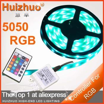 BIG DISCOUNT 5M 500CM 30 leds/M Non- Waterproof 150LEDS Flexible RGB 5050 led strip Light +24 Keys IR Remote(only for RGB)