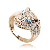 Free Shipping, Rings for Women, Leopard Shape 18K Yellow Gold Plated & Sea Blue SWA Elements Crystal Wedding Rings (5974)