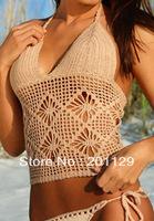 new sexy exotic solid handmade crochet bikini separates swimwear WHITE AND BLACK