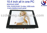 "factory 10.4"" LCD industrial all in one PC with Intel Atom N270,2G RAM,32G SSD,hot sale"