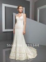 sh1948 accept   Beaded Lace on Net a line of buttons in the back Christmas gift party dress bridal Bridal Gown