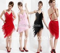Girls Sequins Latin Dance Dresses Tassel Dance Skirt Performance Ballroom Dancing Free Shipping