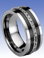 Wholesale Popular best selling Father's Day New Arrival 9MM Tungsten Ceramic Wedding Band Gift Ring CZ by EMS shipping