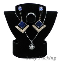 Free Shipping 4 Earring Necklace Ring Set Display Stand Velvet Black CF-278