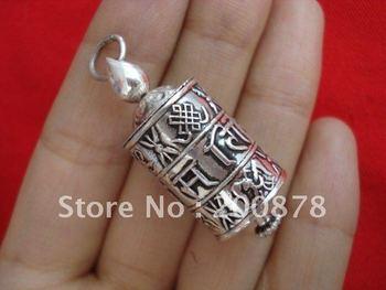 TGB064  925 sterling silver Prayer wheel box Tibetan Mani amulet charms pendant,Lucky Babao Wholesale Nepal silver jewel