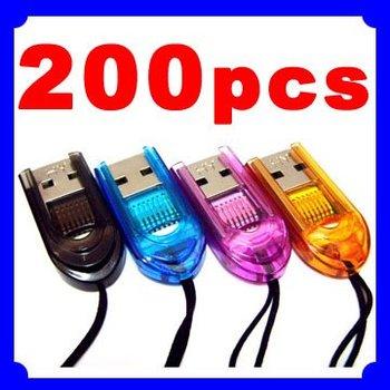 200pcs/lot Express USB 2.0 MicroSD TransFlash TF T Flash 2GB 4GB 8GB Card Reader Writer
