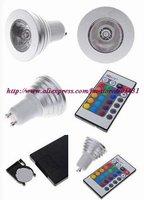 5PCS/LOT, FREE SHIPPING,GU10 3W RGB Multicolored IR Remote Control Light Bulb (85~265V)