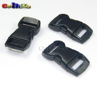 "3/8"" Black Plastic Buckles Contoured Curved for paracord Bracelets Webbing 1000PCS/LOT+wholesale +free shipping #FLC003-B CP"