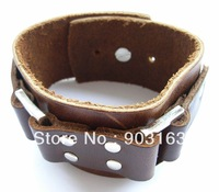Wholesale best selling New Guaranteed 100% New wide brown leather cuff bracelet brass grommets