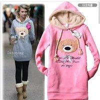 New Womens Hoodies Sexy Top Bear Designed Womens Sweatshirts Hoodies Colour: Pink,Blue,Black ONE SIZE (0801)