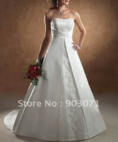 Free Shipping Wholesale/retail Beaded Strapless satin Wedding Dress bridal Gown New