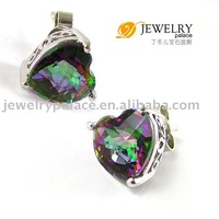 Fine Jewelry HEART 3.6ct Genuine Rainbow Fire Mystic Topaz Earrings Studs 925 Sterling Silver Free shipping