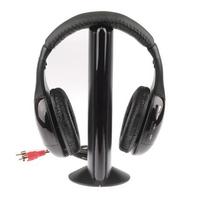 Free Shipping 5 in 1 wireless stereo headphone with fm radio/ wireless headset, MOQ: 1 piece