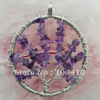 Fashion Wire Wrap Life Tree Amethyst HowliteGmestone Chips Necklace Circle Pendant Bead Wholesale, Free Shipping
