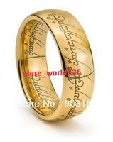 Wholesale 1PCS Best selling New Arrival GUARANTEED 100% New 6MM TUNGSTEN LORD RINGS RARE LOTR 18K GOLD BAND SHIPPING FREE