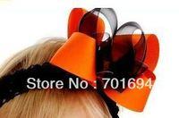 free shipping baby girls beautiful headband with hair bows grosgrain ribbon hair band 100pcs/lot