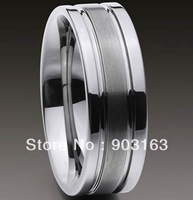 50pcs Best selling New Arrival Guaranteed 100% 8MM Man's Tungsten Carbide Groove Wedding Band Ring + free shipping size 9