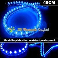 Best offer + Wholesale flexible led strip 10pcs/lot + car led strip waterproof PVC 48cm 48 LED Blue Color lights