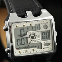 Rectangle Dial Sport Mens Quartz Chrono Watches DATE ALARM Multifunction Leather IW678