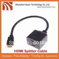 Free Shipping!! 2pcs/lot HDMI Male to 2x HDMI Female splitter Y cable ,HDMI Splitter cable 1male to 2female