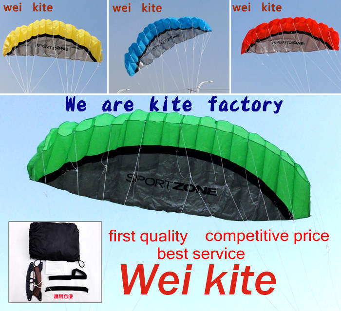 High quality 2.5m Dual Line Stunt Parafoil Kite Power soft kite various colors choose wei kite factory free shipping(China (Mainland))