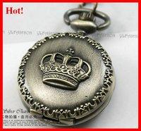 10pcs/lot wholesale Crown Retro pocket Sweater Metal necklace Watch Pendant watches Antique