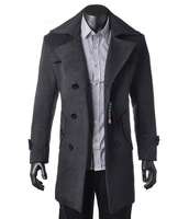 Freeshipping Fashion Men Wool Long Trench Coat Winter Outerwear Warm Jacket Busniess Double-breasted Overcoat Wholesales Spring