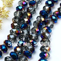 Free Shipping! 8mm Blue AB Faceted Crystal Glass Loose Beads Jewelry(xcb1156)