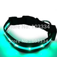 New LED Flashing Light Dog Nylon Safety Medium Collar Dog Leads Tags Green Red Blue & Free Shipping
