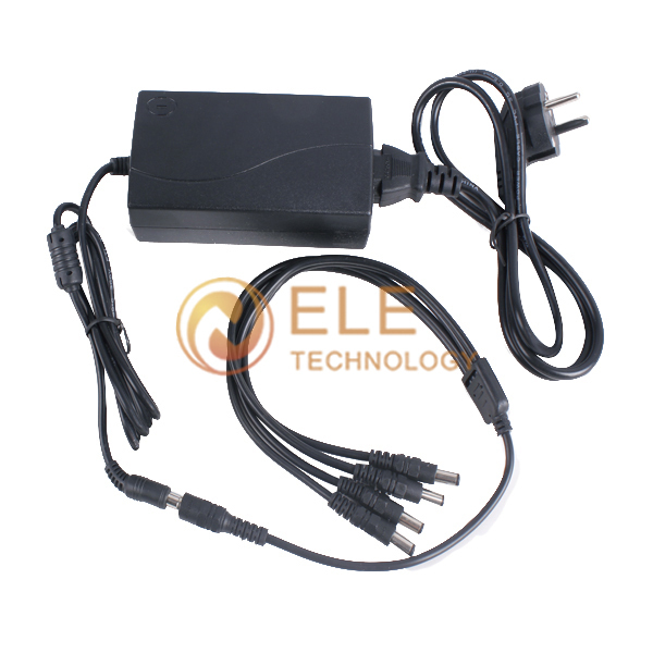 1 split 4 power cable adapter & 12V 5A CCTV power supply(China (Mainland))