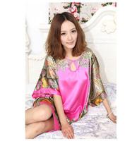 Women 2014 Summer Classic Sleep & Lounge Big Size Home wears Digital Print Loose Night Robes Night Gown Pajama SH67