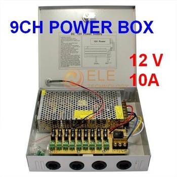 free shipping 9 Port 12V 10A CCTV Camera Power Box