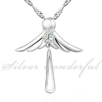 guaranteed full Cubic Zirconia Angle Pure 925 sterling silver pendants fashion in 2014,Romantic Angel Silver Jewelry WP110