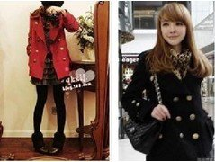 Free Shipping- red / black classic ladies's double-breasted wool coat peppers casual / jacket(China (Mainland))