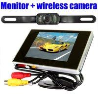 free shipping 3.5 car Monitor + car reverse wireless camera monitor