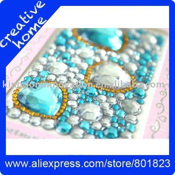 Cell phone jewelry sticker Acrylic  jewelery set 3mm 588 pcs-Free Shipping